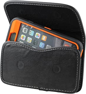 XXL SIZE LG K7 , LG Tribute 5 Premium Leather Belt Clip Pouch Case Cover Holster (Fits LG K7 , LG Tribute 5 with OTTER BOX Defender / LIFEPROOF / Mophie Juice Pack Air/Plus Case On)