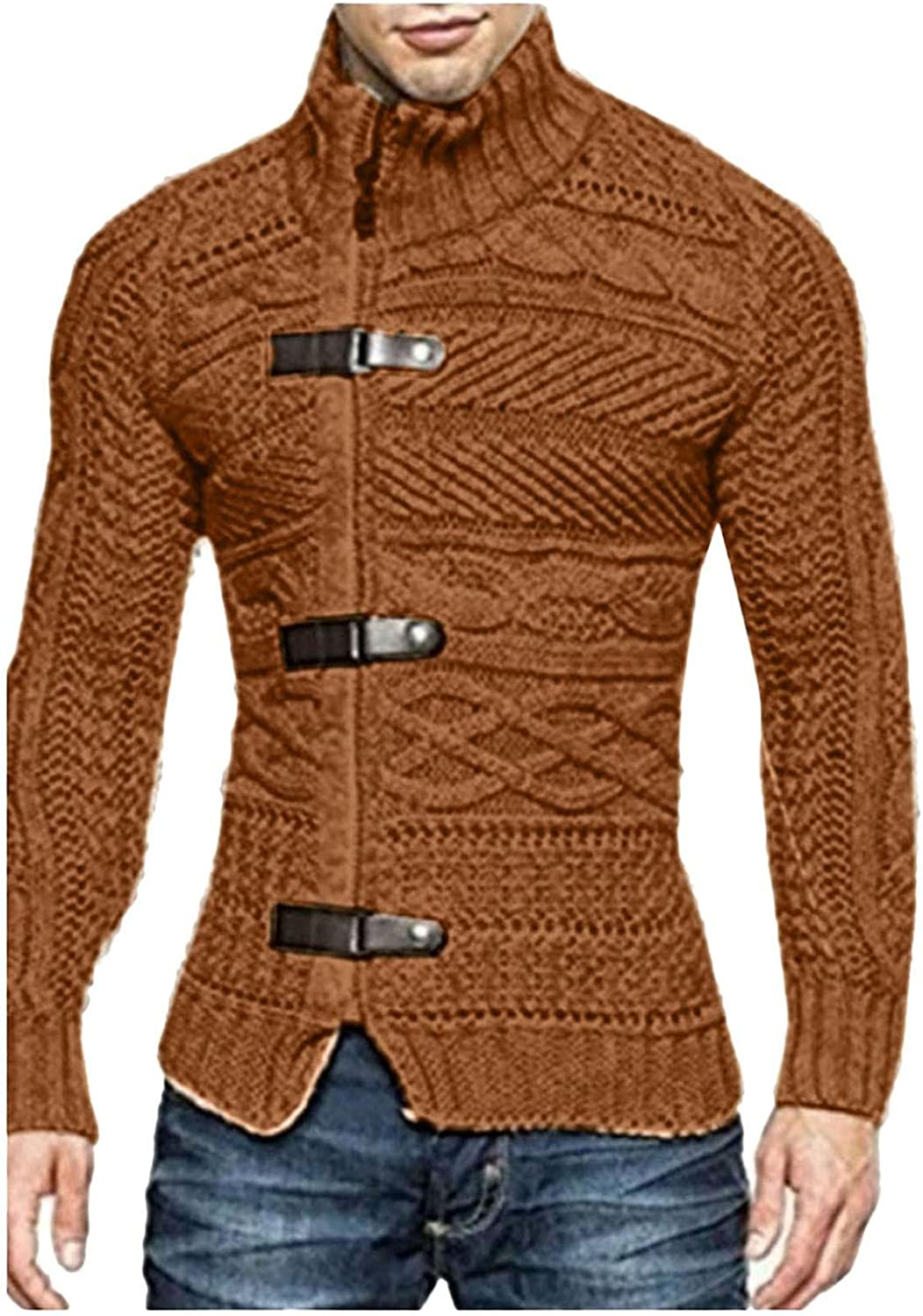 Mens Sweater, Mens Cable Knit Cardigan Sweater Button Down Long Sleeve Fall Winter Chunky Knitted Turtleneck Cardigans