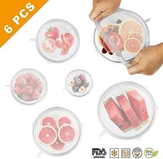 Idefair 6 piezas de tapas de silicona elásticas reutilizables