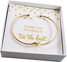 Bridal Party Thank You For Helping Us Tie the Knot Gift Set - Gold-Tone Knot Bangle Bracelet with Messaged Gift Box