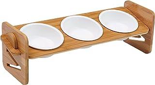 猫 食器 3皿 傾斜15度 竹製 磁器 猫餌台 猫餌入れ 猫餌台 猫餌皿 猫ご飯台 小型犬 フードボウル スタンド 割れにくい 食べやすい 滑り止め付き 高さ調節可能 4段階