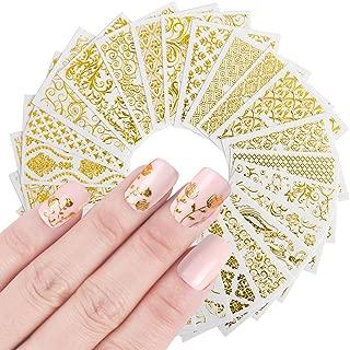 iFancer Nail Stickers Water Transfer Nail Art Decals for Women Girl Fingernail Toenail Tattoo Decoration Golden Leaf Flowers Stick Vine Mandala 3D Gold Pattern Nail Art Supplies (3D Gold Series)