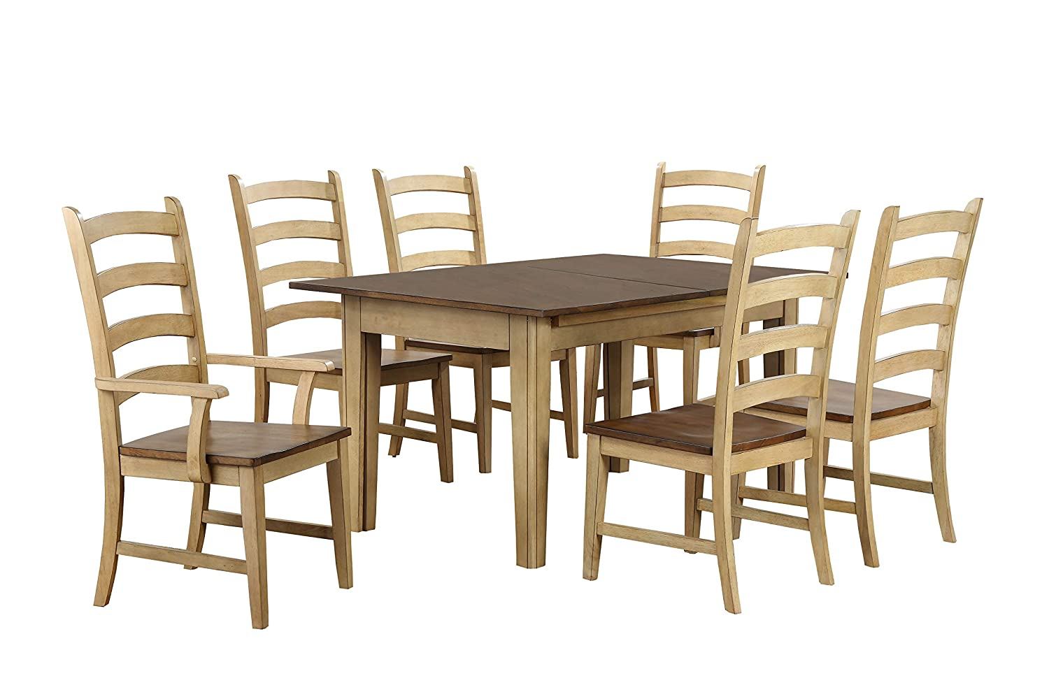 Sunset Trading Brook Dining Table Set, XL, Three Sizes, Distressed Two Tone  Light Creamy Wheat With Warm P