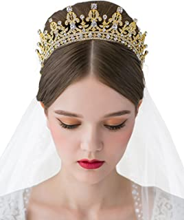 SWEETV Princess Crown CZ Crystal Pageant Queen Tiara Bridal Wedding  Headpiece Women Hair Jewelry 92f5940a77c0