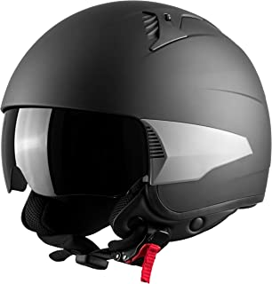 Westt Rover Open Face Motorcycle Helmet DOT Approved with Sunshield + 3 Interchangeable Side Parts