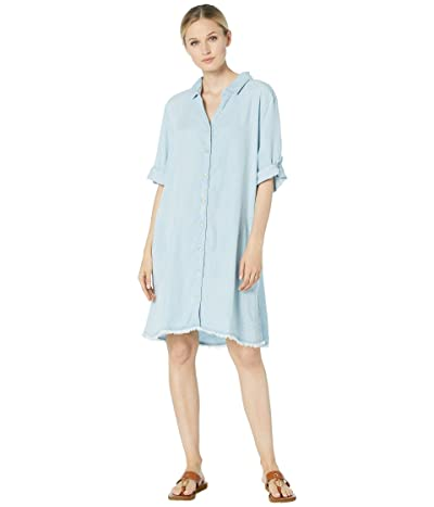 Mod-o-doc Chambray Frayed Hem A-Line Dress (Light Blue) Women