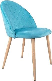 SPRINGOS Aston Silla escandinava retro tapizada para salón, comedor, cocina, oficina, gris, gris claro, azul (azul)