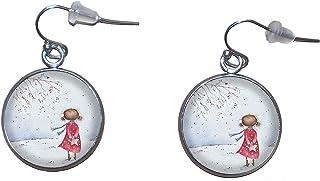 Orecchini pendenti in acciaio inossidabile, diametro 20 mm, fatto a mano, illustrazione Ragazza nella neve 2