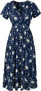 KYLEON Women Elegant Floral Print Short Sleeve Swing Midi Dress Summer Casual Wrap Bohemian Beach Party Tunic Sundress