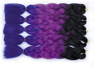 MSHAIR Ombre Jumbo Braiding Hair Extension Synthetic Kanekalon Fiber for Twist Braiding Hair Black/Purple/Dark Purple Color 24 Inch 5 Pieces/lot