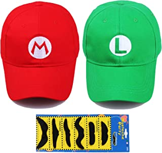 Fashion Super Mario Bros Hat Baseball Cap Unisex Costume cosplay Halloween Hat for Adult Kids (Red and Green) 2Pcs