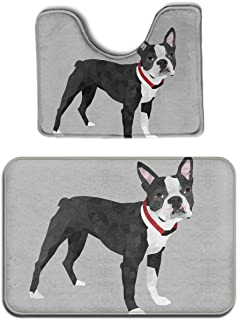 SWEET TANG Memory Foam 2 piece bathroom rug set - Boston Terrier - Skidproof bath Mat And Toilet Seat Contour Cover rug