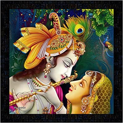 PnF Framed Poster of Radha Krishna Art Paintings 11649-(13x13inch,Multicolour,Synthetic)