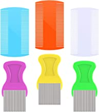 6 Pieces Hair Comb Fine Removal Combs, Include 3 Pieces Metal Teeth, 3 Pieces Double Sided Teeth for Grooming and Removing Dandruff Flakes (Color A)