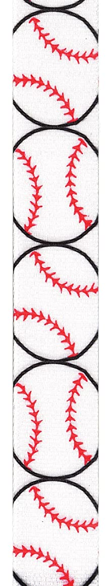 Offray Grosgrain Baseball Craft Ribbon, 7/8-Inch Wide by 25-Yard Spool, Red/White