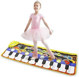 Alfombrilla para piano musical, alfombrilla para jugar con teclado de 19 teclas, juguete de música educativo portátil con 8 instrumentos, 10 demostraciones para bebés y niños pequeños (110 * 36 cm)