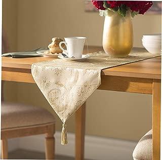 Viоlеt Linеn ホームデコレーション ラグジュアリー ダマスク ヴィンテージデザイン テーブルランナー 13インチ×70インチ ベージュ