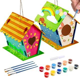 BBTO 2 Juegos Kit de Casa de Pájaros de Madera de DIY Kit de Construir y Pintar Pajareras con 4 Pinceles y 1 Pegamento par...