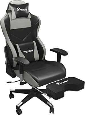 YITAHOME Big and Tall Gaming Chair Heavy Duty 400lb Capacity High Back Video Game Chair with Massage Lumbar Support Ergonomic Office Chairs Adjustable Armrest Retractable Footrest Black