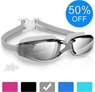 arteesol Swim Goggles, Anti Fog Swimming Goggles Crystal Clear 180° Panoramic Vision Mirrored with 100% UV Protective Coating with Protective Case and Earplug for Adults and Kids