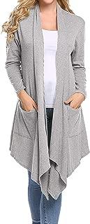 Abollria Long Sleeve Women Asymmetric Draped Open Front Cardigan Sweater
