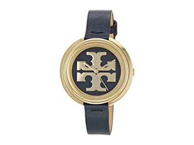 Tory Burch Miller Leather Watch (Blue) Watches