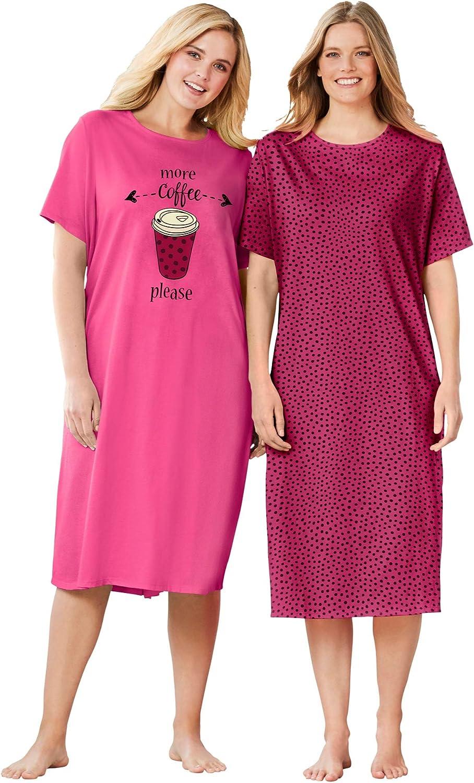 Dreams & Co. Women's Plus Size 2-Pack Long Sleepshirts Nightgown
