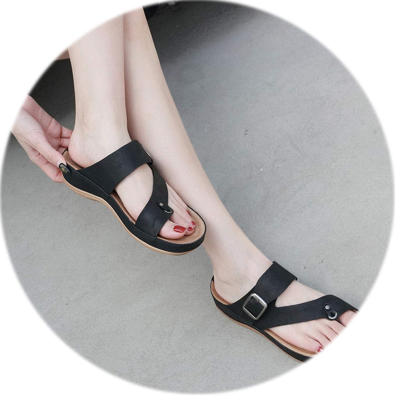 GUANGXINNI Women's Clip Toe Comfortable Flip Flop Metal Belt Buckle Summer Beach Slippers Platform shoes for Women