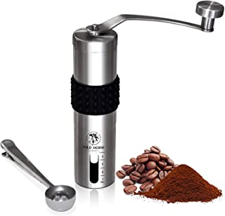WILD HORSE GLOBAL Coffee Mill Burr Grinder - Stainless Steel, 4 TBS - Portable Manual Coffee Grinding Set with Measuring S...