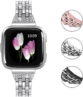 Mtozon Metal Bands Compatible Fitbit Versa/Versa 2, Replacement Metal Rhinestone Bling Bracelet Wristband for Women, Silver Rose Gold Black