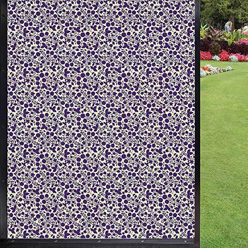 Película de ventana para ventana Botanical tinta, para salón, baño, 60 x 90 cm, color crema y cuarzo