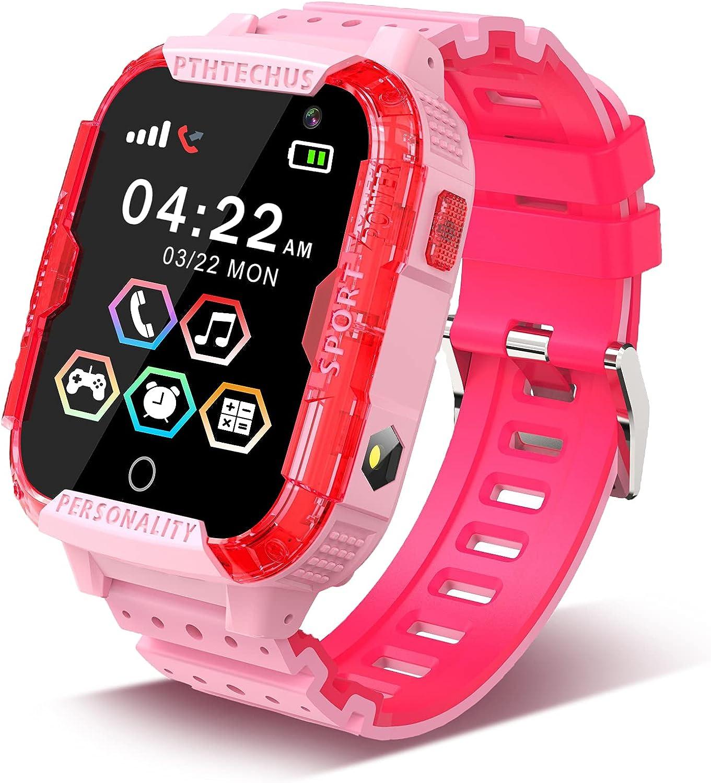 PTHTECHUS Reloj Inteligente Niño, Smartwatch para Niña y Niño Pantalla con Música Juegos Llamada Linterna Video Cámara Despertador Regalos para niños de 4 a 12 años