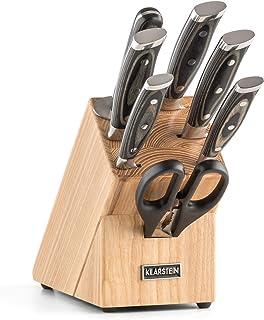 Klarstein Katana 8 - Messerblock, Profi Messer-Set, Edelstahl, 8-teilig, Kochmesser, Brotmesser, Fleischmesser, Allzweckmesser, Schälmesser, Wetzstahl, Schere, Massivholzblock, braun