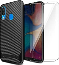AROYI Funda Samsung Galaxy A20e, [2 Pack] Cristal Templado, Carcasa Silicona Fibra de Carbono TPU Alta Resistente y Flexibilidad Fundas Cover Caso para Samsung Galaxy A20e-Negro