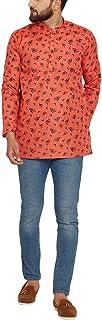 Sojanya (Since 1958) Men's Light Orange Cotton Linen PRINTED Short Kurta