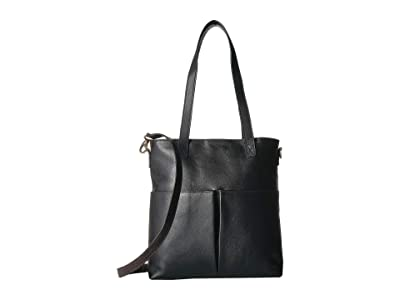 Scully Catia Leather Tote w/ Detachable Shoulder Strap (Black) Handbags