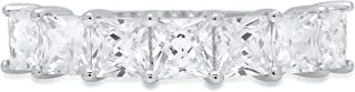 Clara Pucci 1.75 ct Brilliant Princess Cut Simulated Diamond CZ Designer Brial Promise Bridal Wedding Band in 14K Solid White Gold