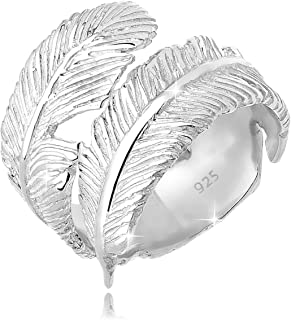 Elli Women's 925 Sterling Silver Adjustable Feather Wrap Ring, Size N