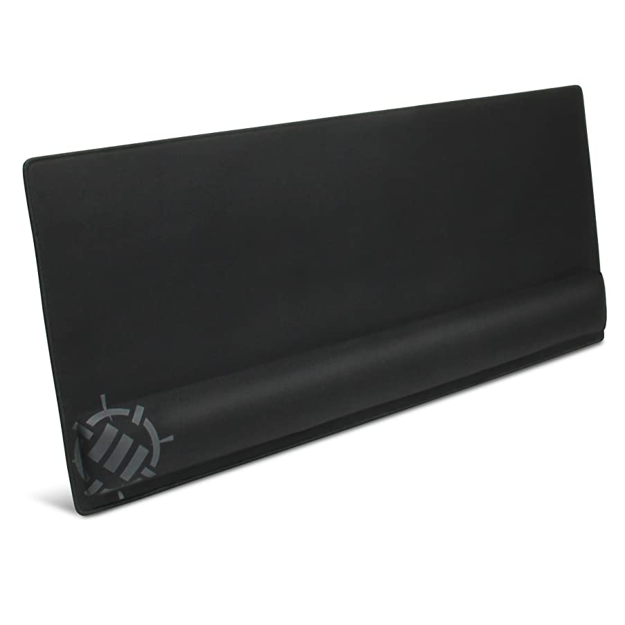 ENHANCE Large Gaming Mouse Pad with Memory Foam Wrist Rest Support - XXXL Extended Mousepad (31.5 x 13.78 in) with Anti-Fray Stitched Edges, Ultra Smooth Fabric Mat, Ergonomic Design (Black)