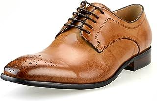 [ルシウス] ビジネスシューズ メンズ 革靴 本革 レザー ロングノーズ レースアップシューズ ドレスシューズ 外羽根 メダリオン 春 靴 [LLT723-1-EPZ 黒 ブラック ブラウン ネイビー 赤 ワイン