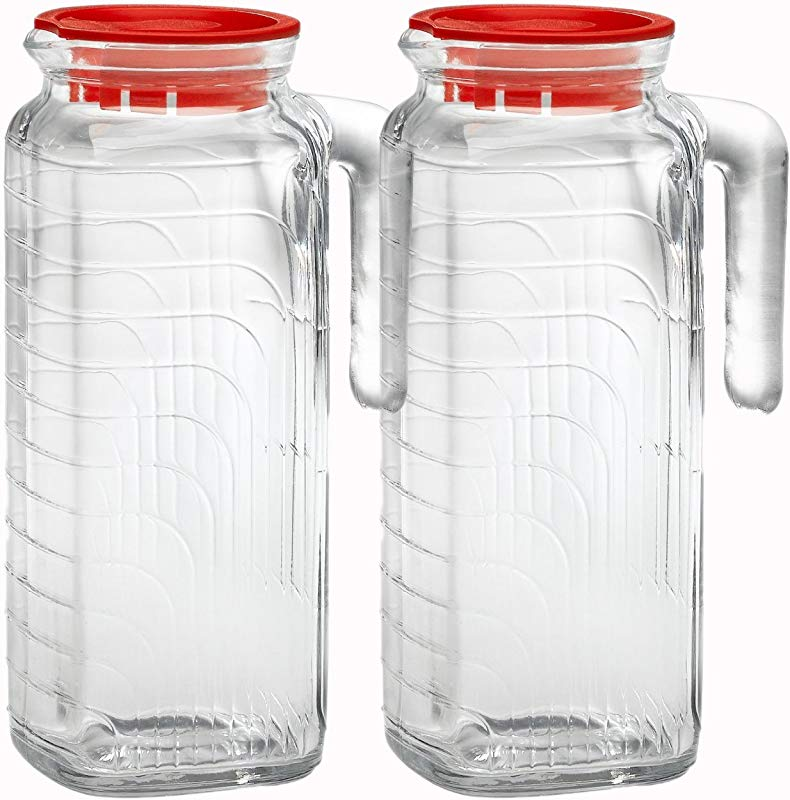 Bormioli Rocco Gelo Glass 1 2 Liter Jug With Red Lid Set Of 2