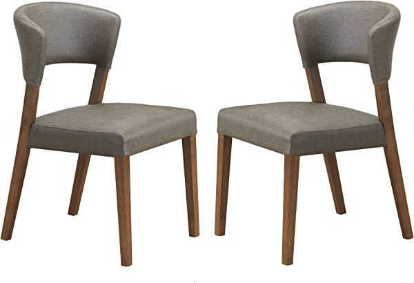 Baxton Studio Montreal Mid Century Dark Walnut Wood And Grey Faux Leather Dining Chairs Set Of 2