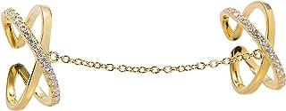 خاتم Jenna Hunter CZ Chain Liked Exes قابل للتعديل للنساء 925 قاعدة من الفضة الإسترلينية مع أحجار زركونيا مكعب مقاسات 6-7