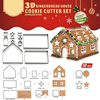 Christmas House Cookie Cutter Set Stainless Steel Cake Biscuit Cookie Cutter Mold DIY Baking Pastry Tool Bake Your Own Small Gingerbread House Kit,Haunted House (3D HOUSE)