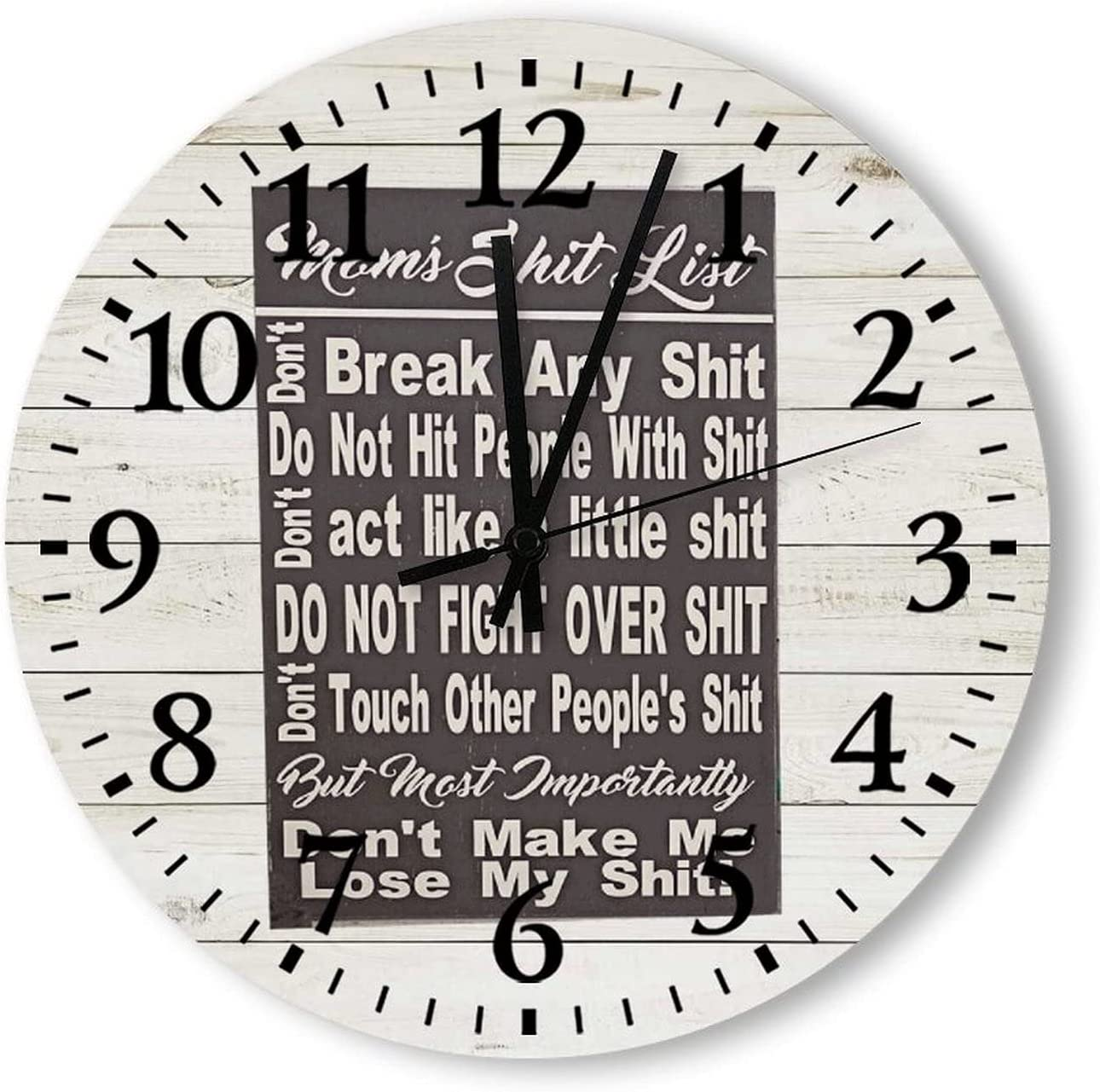 Wood Wall Clock Moms Shit List Sign Gift for Mom Funny Mom Shit