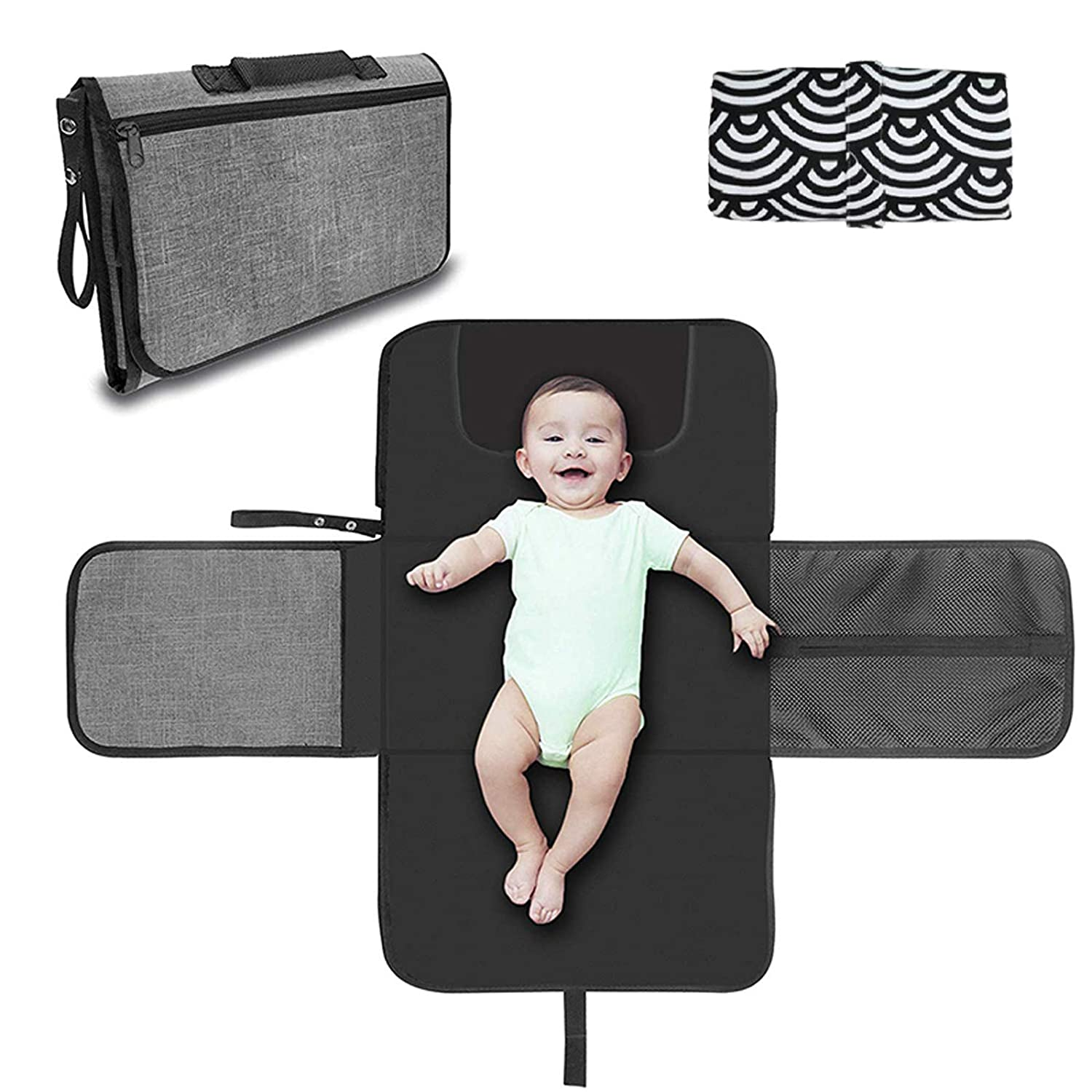 Baby Diaper Changing Pad, Detachable Waterproof Portable Diaper Changing Pad for Baby, with Built-in PillowBaby Shower Registry Gifts +Baby Changing Pad Waterproof, 2Pack