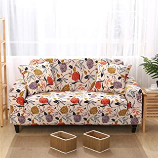 Lamberia Printed Sofa Cover Stretch Couch Cover Sofa Slipcovers for 3 Cushion Couch with One Pillow Case (Vine Flower, Sofa-3 Seater)