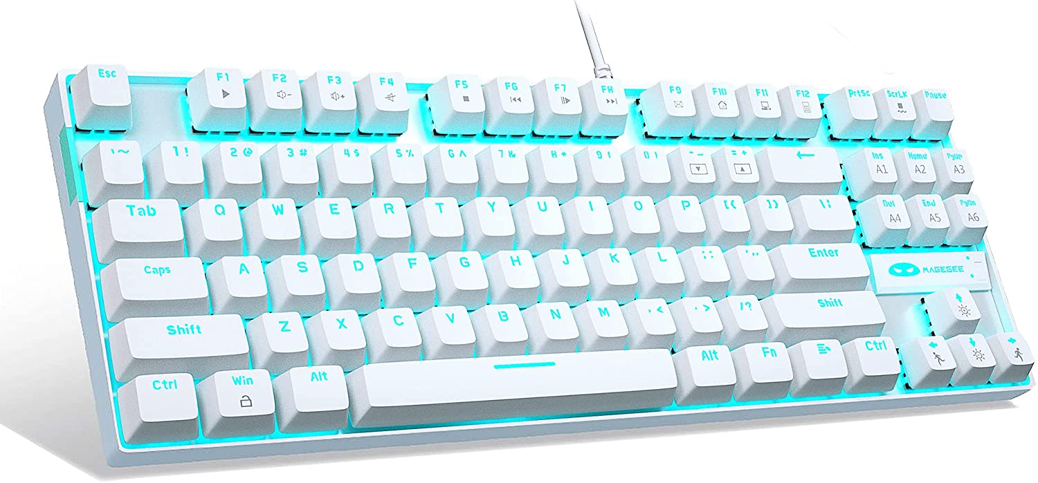 White Mechanical Gaming Keyboard, Red Switch, MageGee MK-Star Blue LED Backlit Keyboard Compact 87 Keys TKL Wired Computer Keyboard for Windows Laptop PC Gamer