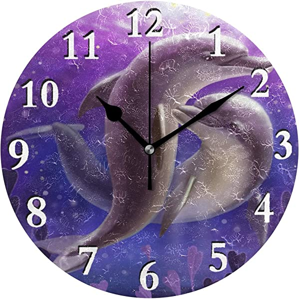 Unimagic Ocean Animal Dolphin 3D Print Battery Operated Round Wall Clock 9 45 Inch Silent Clock For Office Bathroom Living Room Kitchen