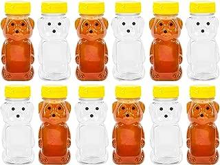PLASTIC 8 OZ BEAR SQUEEZE HONEY BOTTLE EMPTY WITH YELLOW FLIP-TOP CAPS (12)
